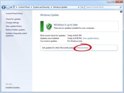 Enable Microsoft Update in Windows Vista, Windows 7 or Windows 8 to